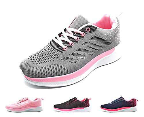 Zapatillas Deportivas Mujer Running Ligero Malla Transpirable con Cordones Zapatillas de Deporte para Mujeres Fitness Correr Atletismo Caminar Andar Gimnasia Gris 37