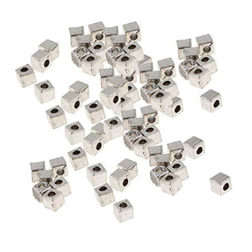 chiwanji Perlas Espaciadoras Aleación Mixta 100 Piezas Cuadrado / Cubo para Manualidades / Fabricación de Joyas