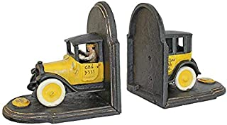 Design Toscano Vintage Yellow Cab Cast Iron Sculpture Car Bookend Pair, Full Color