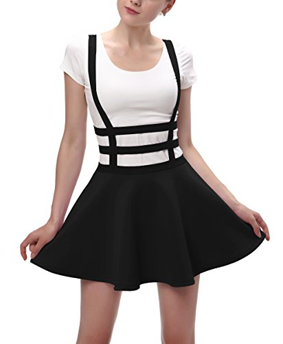 Urban CoCo Womens Elastic Waist Pleated Short Braces Skirt (Medium, Black)