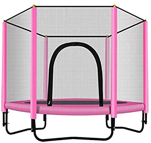 CJY - Tappeto elastico con rete di sicurezza per bambini, peso massimo: 100 kg, tappeto elastico per fitness, interno e giardino, ideale per bambini e adulti, rosa, L