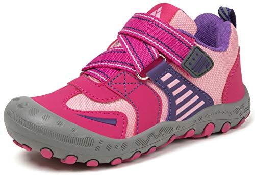 Mishansha Mädchen Trekking Wanderschuhe für Kinder Atmungsaktiv Wanderschuhe Outdoor Sneaker Schnellverschlüsse Rot 26 EU