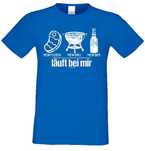 Fun T-Shirt für Männer Motiv Mein Fleisch - Mein Grill - Mein Bier - Herren Shirt zum Grillen - lustige Grill Geschenke Gr: 4XL
