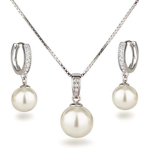 Schöner-SD Set Halskette Ohrringe Schmuckset mit Perlen 925 Silber Rhodium creme