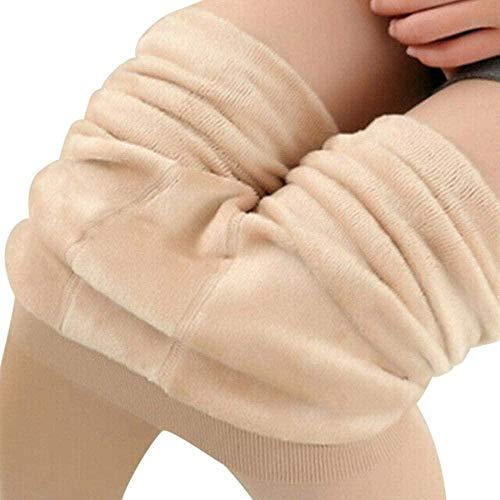 Leggings femininas de inverno com forro de lã P leggings femininas Plus veludo grosso cor sólida cintura alta slim calça tom de pele de inverno elegante e confortável esportes ao ar livre simples