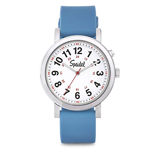 Speidel Scrub Glow Watch for Medical Professionals with Scrub Matching Blue Silicone Band, Easy to Read Light Up Dial, Second Hand, Military Time for Nurses, Doctors, Students