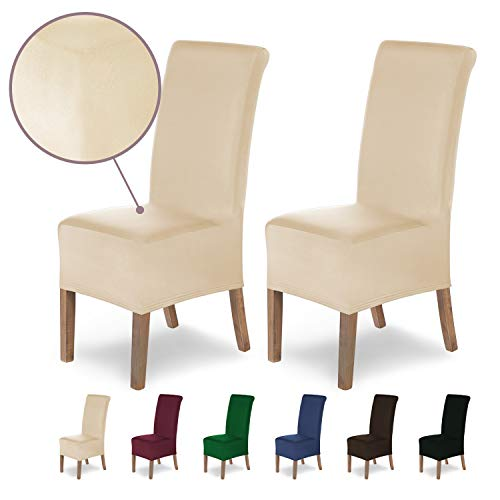 SCHEFFLER-Home Stretch Stuhlhusse Lena, 2er Set elastische Stuhlabdeckungen, Stuhlhussen Schwingstühle, Spannbezug mit Gummiband, Elegante Stuhlbezüge