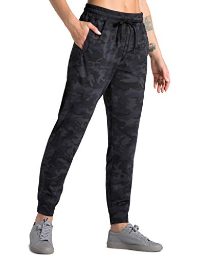 Dragon Fit Joggers for Women Active Tapered Lounge Pants with Pockets Drawstring Workout Pants for Yoga, Running,Fitness (Medium, Black&Grey Camo(Fleece Lined))