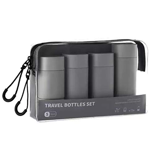 Leak Proof Makeup Liquid Travel Containers, with Clear Zipper Bag Travel Refillable Squeezable Set, for Shampoo, Lotion, Conditioner, Ideal as a Gift Set,Gray