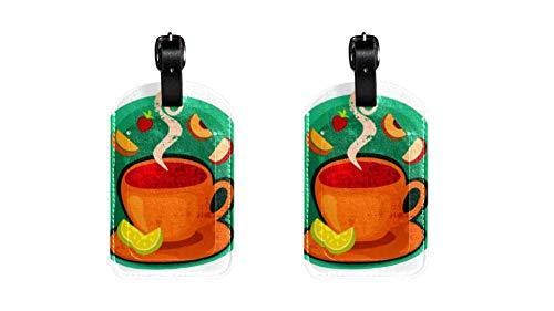 Lustige kofferanhänger Leder gepäckanhänger Kinder Kreuzfahrt farbige Initiale Kofferanhänger Set Halter für Taschen Cartoon-Kaffeetasse 7x11.4cm
