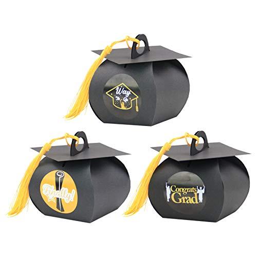 24 cajas de dulces de graduación, cajas de regalo de graduación con borlas con 24 pegatinas de graduación, cajas de papel kraft negro, decoración de ceremonia de graduación para galletas de chocolate