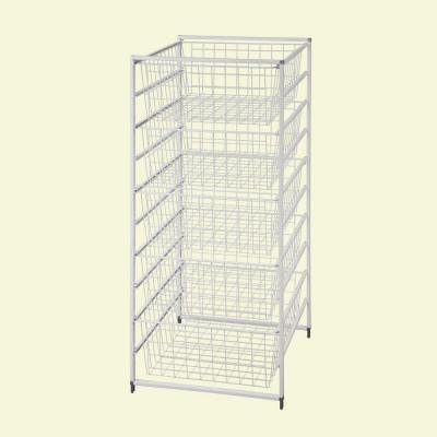White Drawer Kit with 5 Wire Baskets, 41 in. H x 17 in. W x 21 in. D