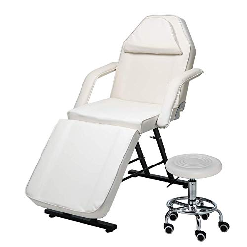 Massage Bed Table 3 Section Beauty Reiki Therapy Couch Salon Chair Tattoo Adjustable Facial SPA Pedicure Massaging Bed with Stool Steel Frame PU Leather White