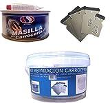 KIT REPARACION CARROCERIA (MASILLA PARA CARROCERÍA 1 KG + JUEGO ESPATULA CARROCERO INOXIDABLE + CUBO PLASTICO 2,5 LITROS) PLAIN+INOX