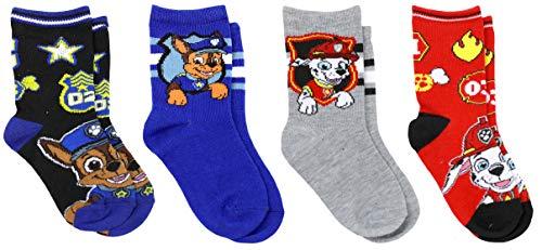 Nickelodeon Boy's Paw Patrol 4 Pack Crew Socks, Shoe Size 10-4