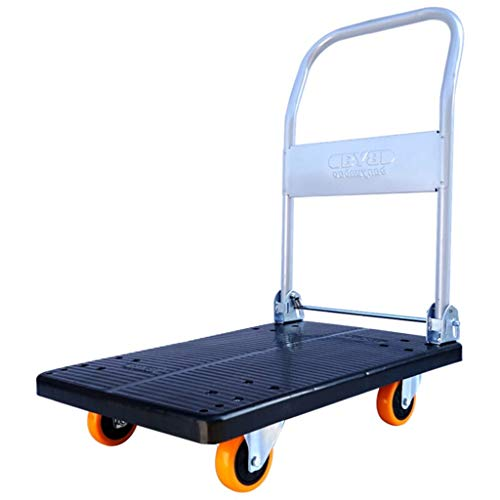 JYTBD YUN TAO Hand Vrachtwagen/Platte Trolley/Oranje Vier Wiel Klein Winkelwagen/bestelwagen/Gereedschapskist/Mute Trolley/Industriële Vrachtwagens/Laden 150KG