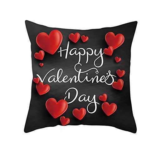KnBoB Funda de Almohada Happy Valentine's Day Corazón Poliéster Negro Rojo 45 x 45 cm Estilo 16