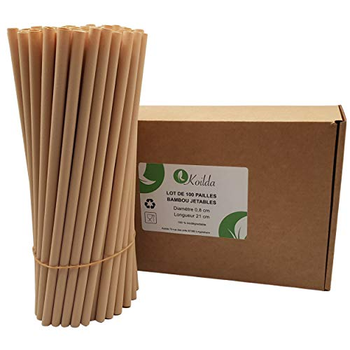 KOILDA | Pack of 100 Disposable Bamboo Fiber Straws | Biodegradable & Eco Friendly | Ideal for Juices, Cocktails, Smoothie, and Any Drink | 23cm-Diameter 0.8cm