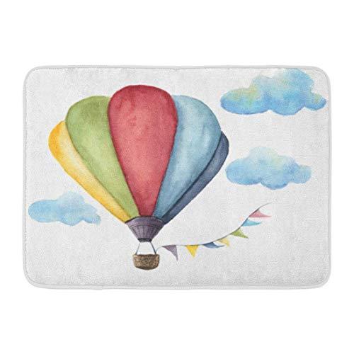 Doormats Bath Rugs Outdoor/Indoor Door Mat Blue Color Watercolor Hot Air Balloon Vintage Flags Garlands Clouds Polka Dot Pattern and Retro Colorful Bathroom Decor Rug Bath Mat