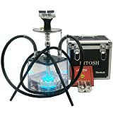 DITOSH Hookah Set Modern Acrylic Cube Hookah with Silicone Hookah Bowl Remote Multicolor LED Light Silk Hookah Hose and Tongs for Better Shisha Hookah Narguile Smoking