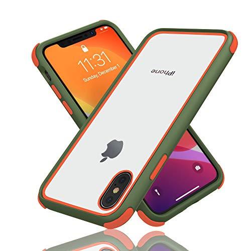 Geestyle Funda para iPhone X,Funda para iPhone XS,Funda para iPhone 10,Silicona Transparente PC/TPU Bumper Antigolpes Caso para iPhone XS X Naranja Verde Claro