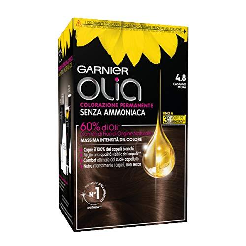 Garnier Öl-Haarfarbe, permanente Haarfarbe ohne Ammoniak, für einen zarten Duft, deckt 100 % der weißen Haare ab, Braun Mokka, 1 Stück