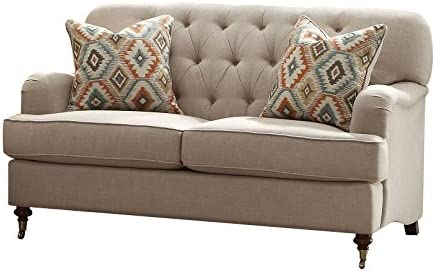 Best ACME Furniture 52581 Alianza Loveseat with 2 Pillows, Beige Fabric