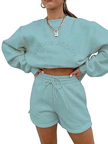 GAOYUAN Ropa de estilo casual para mujer, patrón de letras bordadas, cuello redondo, manga larga + pantalón corto de bolsillo con cordón de color sólido (suéter verde, pequeño)