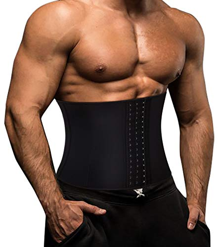 Gotoly Taille Trainer Fitness Gürtel Sauna Bauch Weg Herren Body Shaper Gewichtsverlust Korsett Fettverbrennung Taillenmieder Neoprene Schweiß Rückenbandage (Schwarz, L)