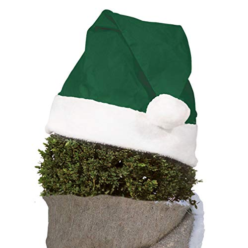 AFP Pflanzen-Weihnachtsmütze, grün, 42 x 36cm, 10cm Plüschkante - Vliesmütze, Nikolausmütze - Gartendeko & Winterdeko draußen / 2 Jutesäckchen Gratis