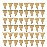 Bandera de arpillera DIY Decoración de la arpillera Bandera de la arpillera Blanco Bandera de la Ropa del triángulo para Vacaciones para Vacaciones Fiesta de Boda 48PCS