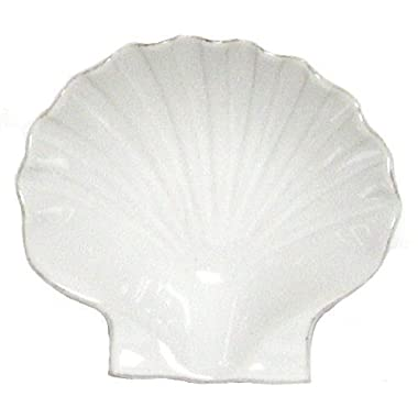 Stoneware Scallop White Small Bowl, Set of 6 - 4.75 Lx4.5 Wx1.5 H