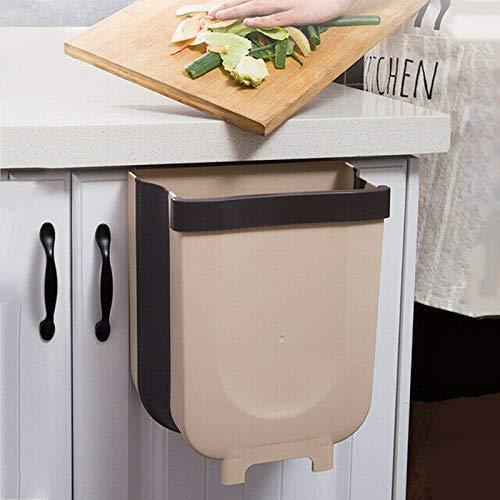 Papelera, papelera colgante plegable para puerta de armario de cocina, para armario, puerta,jardín, oficina, escuela, cocina, baño, separación seca y húmeda, armario de basura de 8 l