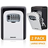 Key Lock Box for House Key, 4-Digit Combination Code Wall Mount Lock Box, Key Storage Lock Box for Outside & Inside, Weatherproof Key Safe Box for Home, Business(2 Pack)