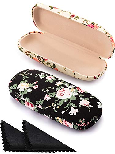 2 Pieces Spectacle Case Box Portable Hard Eyeglass Case Fabrics Floral Eyeglass Case Spectacles Box Case for Eyeglasses (Apricot, Black)
