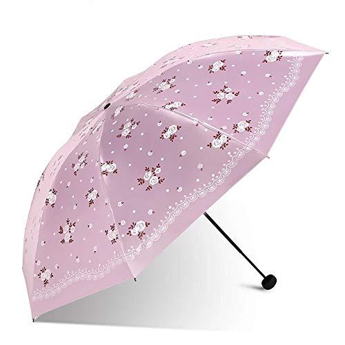 Regenschirm Taschenschirm Sonnenschirm UV-Schnitt Maßnahmen zur Regenverhütung Kombination aus Regen und Regen Regenschirm Lightweight 7 Bone Origami Regenschirm Damen JFCUICAN