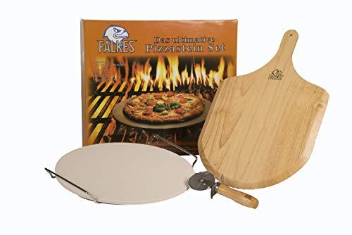 falkes Premium Pizzastein-Set Backofen und Grill. Auch als Brotbackstein verwendbar. Mit Pizzabrett, Pizzaschneider und Pizzasteinständer. Knusprige Pizza wie beim Italiener!
