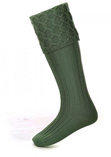 House of Cheviot Lewis Socken aus Merinowolle, Zopfmuster, hergestellt in Schottland, Grün