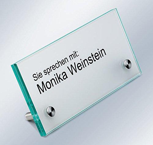 Tischaufsteller, Namensschild, Empfangsschild, ESG-Glas, 150x70x4 mm, 60° Aufstellwinkel, Schilderhalter Edelstahl mit extra- flachem Kopf
