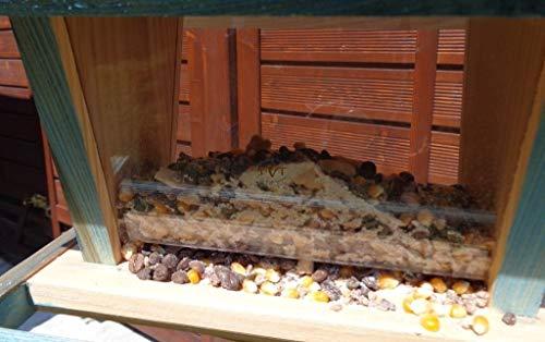 Vogelfutterhaus BEL-X-VOFU2G-natur002 PREMIUM Vogelhaus mit großem 3D-SILO + RIESEN-SICHTSCHEIBEN Vogelfutterhaus NEU Holz Nistkasten natur Gartendeko, KOMPLETT MIT 2 GROSSEN SICHTSCHEIBEN FÜR FUTTERVORRAT, als Ergänzung zum Meisenkasten oder zum Insektenhotel, Vogelfutterhaus Vogelfutterhaus, für Vögel, Vogelfutterhaus zum Hängen und zum Aufstellen - 6