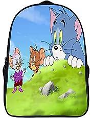 Tom and Jerry Rugzak, duurzame schooltas, met twee netvakken aan de zijkant, geschikt voor basisscholieren, jongens en meisjes