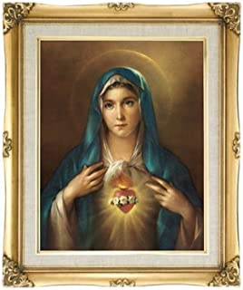 Immaculate Heart Of Mary Framed Art Under Glass Overall Size 16x20