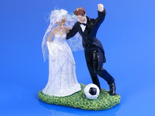 SiDeSo® Tortenaufsatz Hochzeit Tortendeko Brautpaar Tortenfigur (Fußball)
