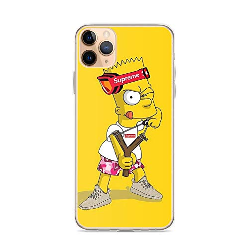 TeeTan Compatible with iPhone 11 Pro Max Case Bart Simpsons Wall Artist Yellow Character Fashion Pure Clear Phone Cases Cover