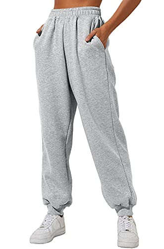 Yovela Womens Fall Cinch Bottom Sweatpants Outfits Cotton High Waist Jogger Pants Y2k Trendy Clothes Lounge with Pockets Grey