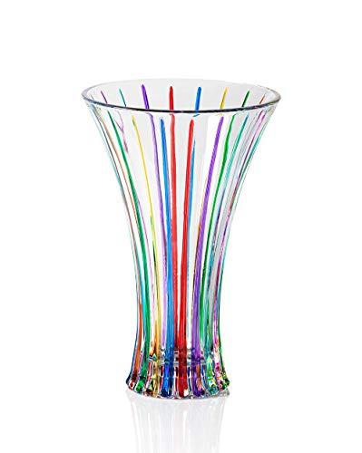 Timeless Vase Multicolor Hand bemalt Glas Murano Stil Venedig
