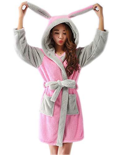 Peignoir à Capuche pour Enfants Manches Longues Flanelle Chaud Robe de Chambre Animal Motif Lapin S