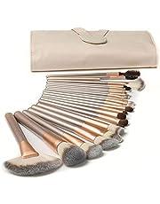 DMG Professional Makeup Brushes 24Pcs Girls Quality Makeup Brushes Set for Kabuki Foundation Powder Contour Blending Blush Eye Shadow Travel PU Bag Included, Solid Wood Handle Cruelty-Free Bristle