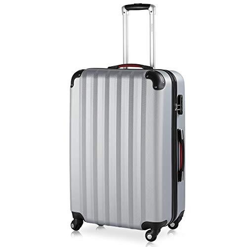 Valise Rigide XL Argent • 4 Roues 360° Bagage poignée télescopique Plastique ABS Bords renforcés Serrure Cadenas à Combinaison Malle Voyage léger Vacances