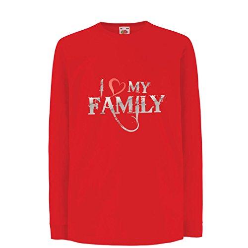 Kinder-T-Shirt mit Langen Ärmeln Einzigartige Designer Hemden Zeigen Ihre Liebe - fantastisches zusammenpassendes Kleid der Familie (9-11 Years Rot Mehrfarben)